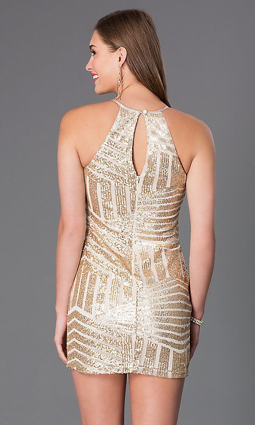 Image of Gold Sequin Short High Neck Prom Dress Style: MY-2559XC1C Back Image