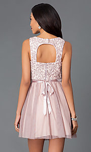 Image of short lace bodice cut out sleeveless beaded waistline dress Style: MY-2615TU1P Back Image