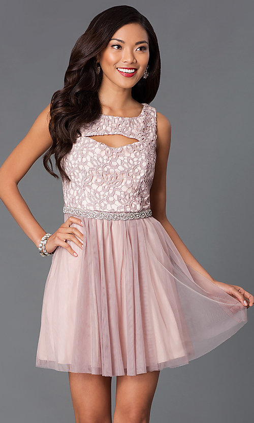 Image of short lace bodice cut out sleeveless beaded waistline dress Style: MY-2615TU1P Front Image