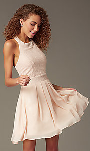 Image of short sleeveless fit-and-flare pink party dress Style: TX-6905742X9I Detail Image 2
