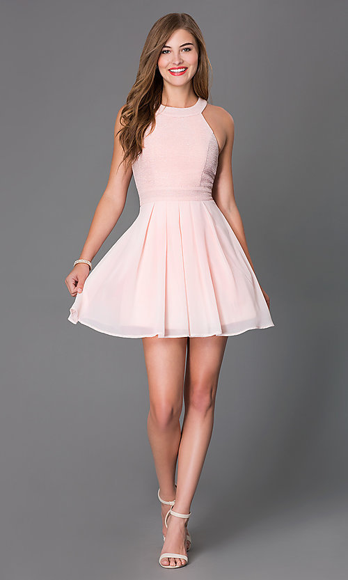 Image of short sleeveless fit-and-flare pink party dress Style: TX-6905742X9I Detail Image 1