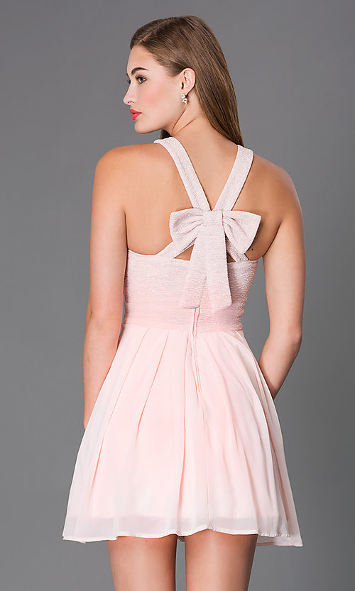 Image of short sleeveless fit-and-flare pink party dress Style: TX-6905742X9I Back Image