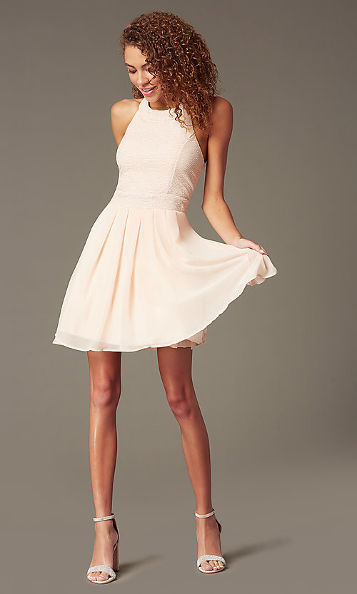 Image of short sleeveless fit-and-flare pink party dress Style: TX-6905742X9I Front Image