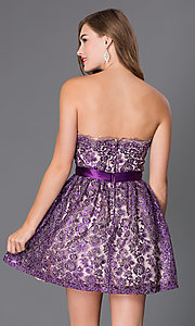 Image of short strapless lace dress with jeweled waist Style: LA-24999 Back Image