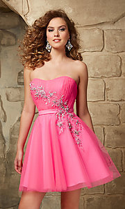 Image of short strapless Mori Lee fit-and-flare tulle dress. Style: ML-9344 Front Image