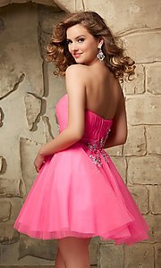 Image of short strapless Mori Lee fit-and-flare tulle dress. Style: ML-9344 Back Image