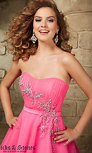 Image of short strapless Mori Lee fit-and-flare tulle dress. Style: ML-9344 Detail Image 1