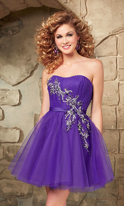 Image of short strapless Mori Lee fit-and-flare tulle dress. Style: ML-9344 Detail Image 2
