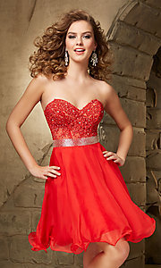 Image of Mori Lee beaded sweetheart semi-formal party dress. Style: ML-9351 Detail Image 3