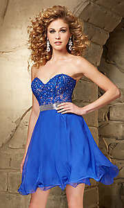 Image of Mori Lee beaded sweetheart semi-formal party dress. Style: ML-9351 Front Image