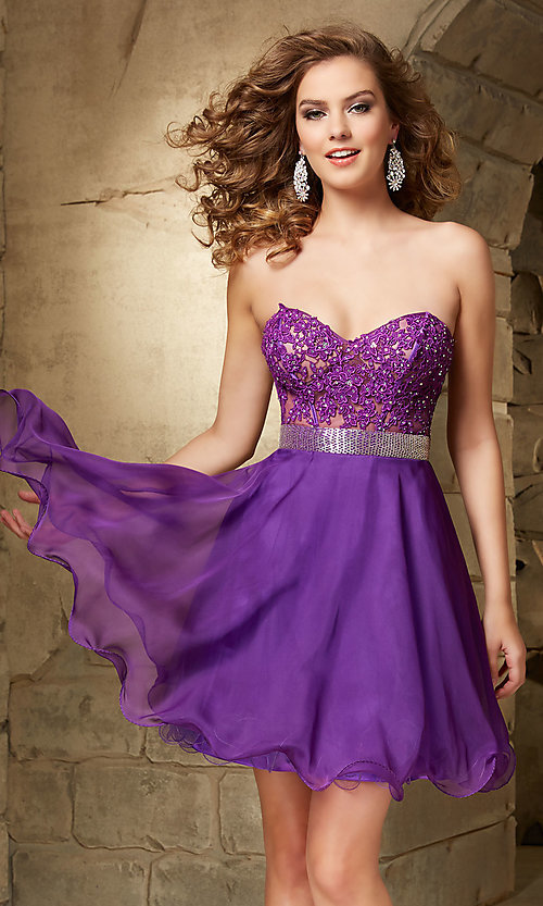 Image of Mori Lee beaded sweetheart semi-formal party dress. Style: ML-9351 Detail Image 1
