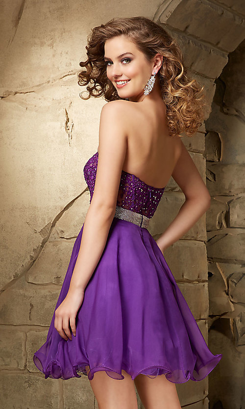 Image of Mori Lee beaded sweetheart semi-formal party dress. Style: ML-9351 Back Image