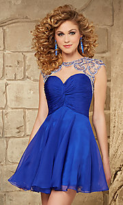 Short Sweetheart Dress with Cap Sleeves by Mori Lee