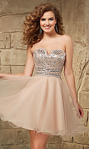 Short Notched Strapless Mori Lee Dress