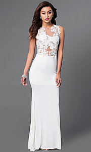 Image of ivory floor-length sleeveless evening gown with lace. Style: CQ-3661DKi Front Image