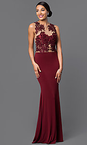 Image of ivory floor-length sleeveless evening gown with lace. Style: CQ-3661DKi Detail Image 3
