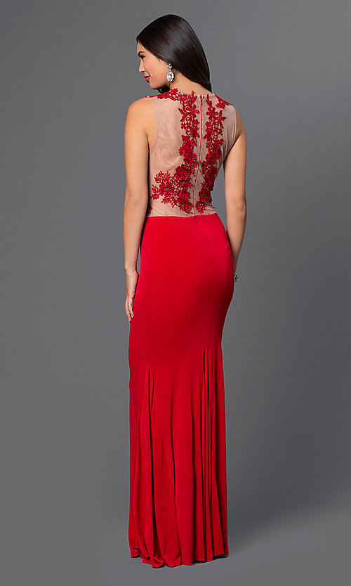 Image of ivory floor-length sleeveless evening gown with lace. Style: CQ-3661DKi Back Image