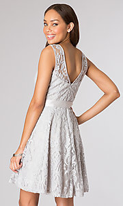 Image of short lace high-neck party dress in silver. Style: SF-8760s Back Image