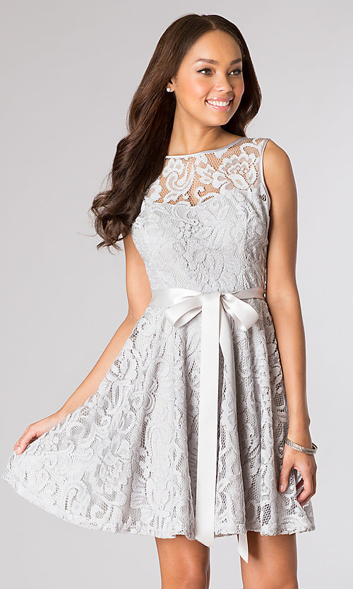 Image of short lace high-neck party dress in silver. Style: SF-8760s Front Image