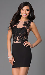 Short Party Dress with Illusion Lace Bodice