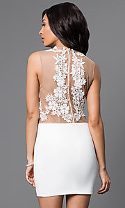 Image of Party Dress with Illusion Lace Bodice Style: CQ-3870DK Back Image