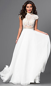 Mock Two Piece Lace Top Dress by Brit Cameron