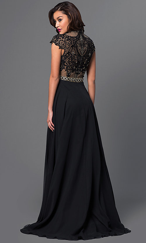 Image of floor length high neck cap sleeve lace top dress Style: BT-15321 Back Image