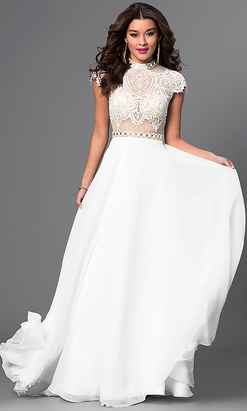 Image of floor length high neck cap sleeve lace top dress Style: BT-15321 Front Image