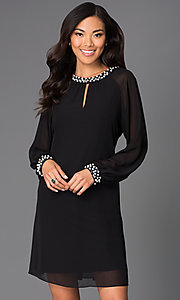 Image of short formal dress with pearl accents and long sleeves Style: IT-118914 Front Image