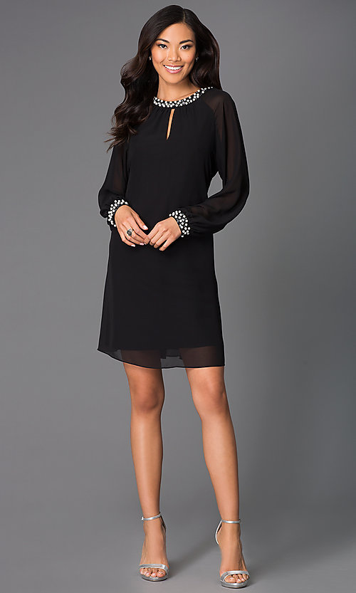 Image of short formal dress with pearl accents and long sleeves Style: IT-118914 Detail Image 1