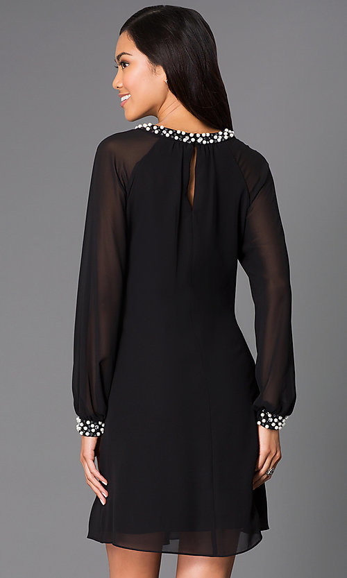 Image of short formal dress with pearl accents and long sleeves Style: IT-118914 Back Image