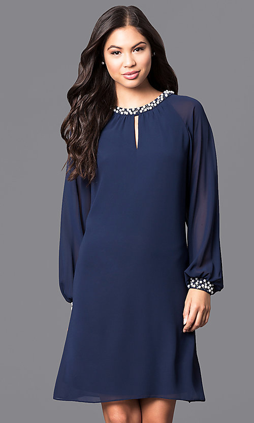 Image of short formal dress with pearl accents and long sleeves Style: IT-118914 Detail Image 2