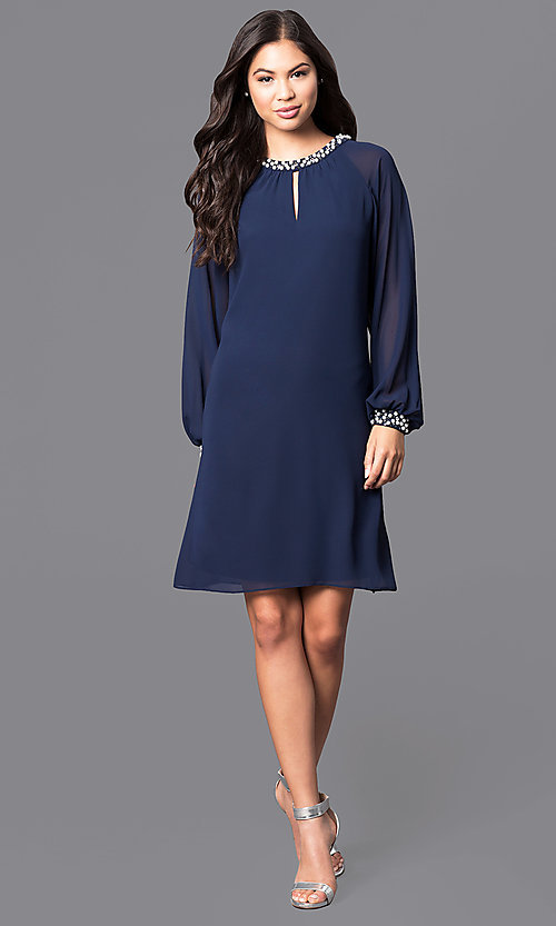 Image of short formal dress with pearl accents and long sleeves Style: IT-118914 Detail Image 3