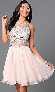 Image of jewel-embellished bodice short JVN by Jovani dress. Style: JO-JVN-JVN27600 Front Image