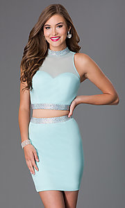Two Piece High Neck Blush Dress