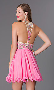 Image of short illusion racer-back Blush dress Style: BL-PGN009 Back Image