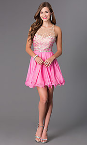 Image of short illusion racer-back Blush dress Style: BL-PGN009 Detail Image 1