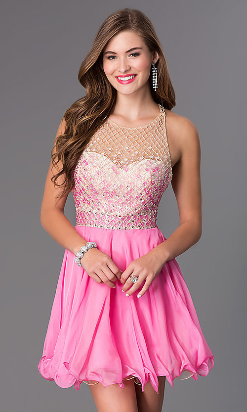 Image of short illusion racer-back Blush dress Style: BL-PGN009 Front Image