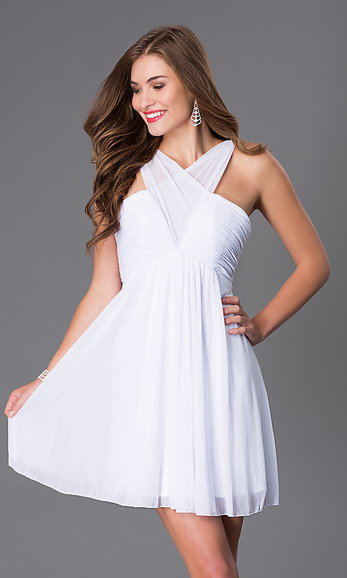 Image of short sleeveless v-neck empire waist dress Style: FA-7649 Detail Image 1