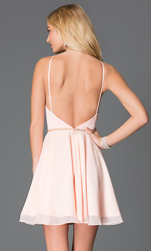 Image of short high-neck open-back Faviana cocktail dress.   Style: FA-7652 Back Image