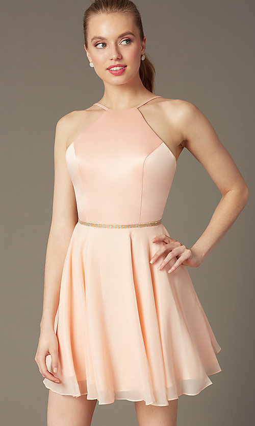 Image of short high-neck open-back Faviana cocktail dress.   Style: FA-7652 Front Image