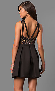 Image of Black Open Back Short Dress Style: FA-7660 Back Image