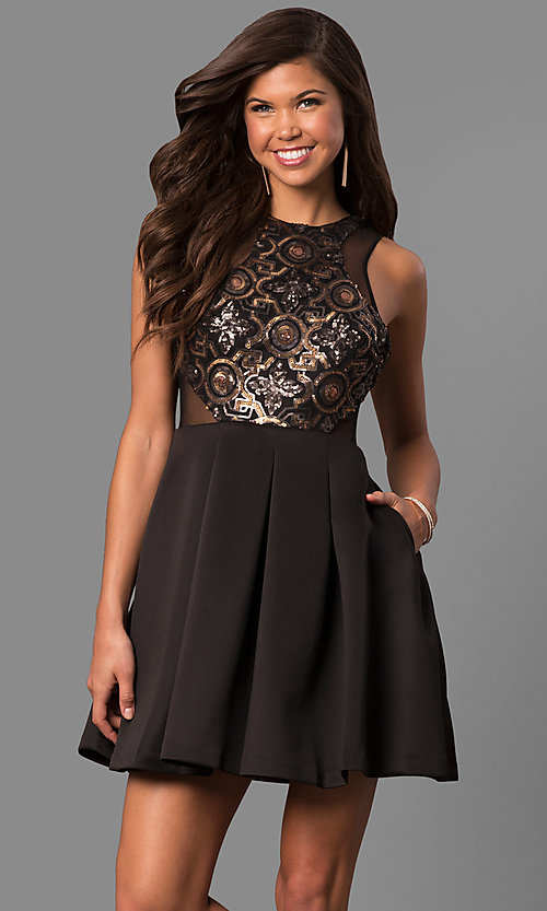 Black Open Back Short Prom Dress - PromGirl