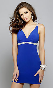 Short Faviana Homecoming Dress With Beaded Open Back
