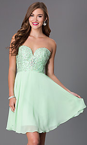 Short Strapless Sweetheart Swing Prom Dress