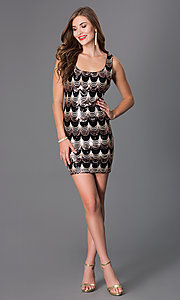 Image of short sleeveless black and gold sequin dress Style: JU-47928 Detail Image 1