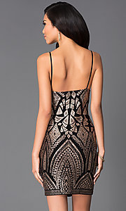 Image of short black gold print spaghetti strap dress Style: JU-48146 Back Image
