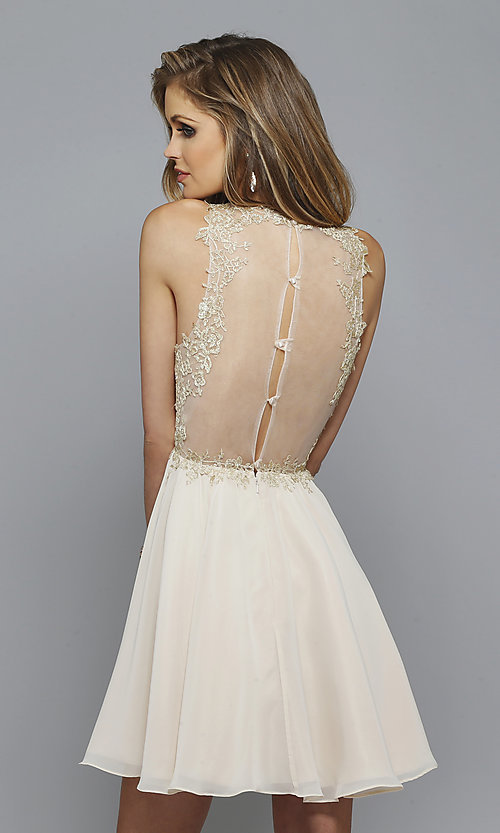 Image of lace-embroidered homecoming dress by Faviana Style: FA-S7668 Back Image