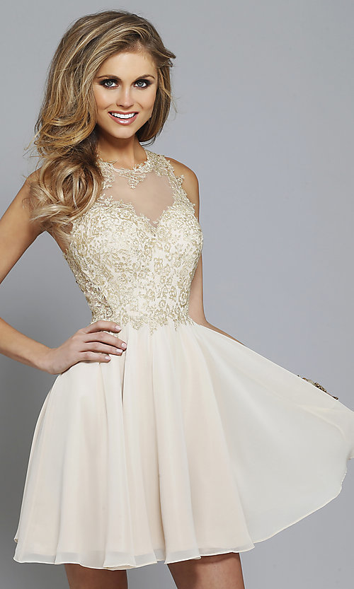 Image of lace-embroidered homecoming dress by Faviana Style: FA-S7668 Front Image