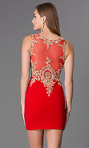 Image of short sleeveless lace embellished sheer bodice dress Style: JO-JVN-JVN32608 Back Image
